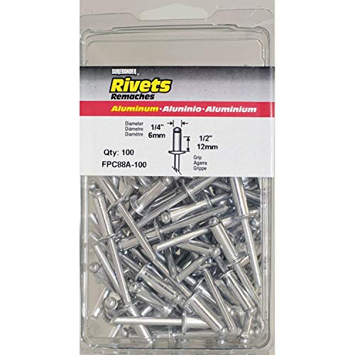 FPC88A-100 Long Aluminum Rivets - 1/4' Diameter, 1/2' Grip - 100 Count