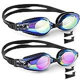 Vorshape 2 Pack Swim Goggles, Swimming Goggles Flat Lenses, Anti-Fog UV Protection Leak-Proof Triathlon Swim Glasses with 3 Sizes of Nose Bridge Free Protection Case for Adult Men Women Youth