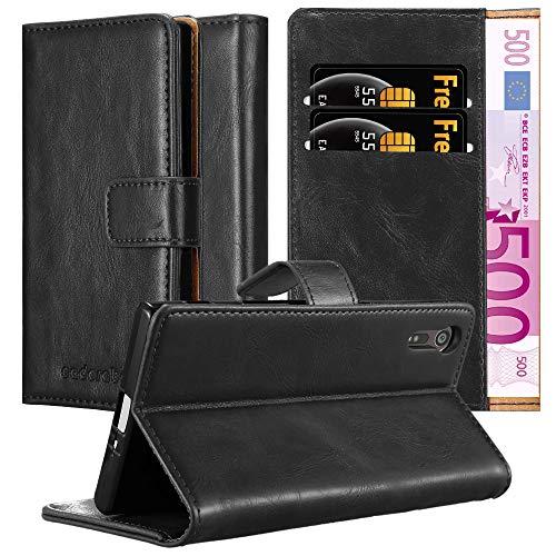 Cadorabo Hülle für Sony Xperia XZ/XZs in Graphit SCHWARZ – Handyhülle mit Magnetverschluss, Standfunktion & Kartenfach – Hülle Cover Schutzhülle Etui Tasche Book Klapp Style