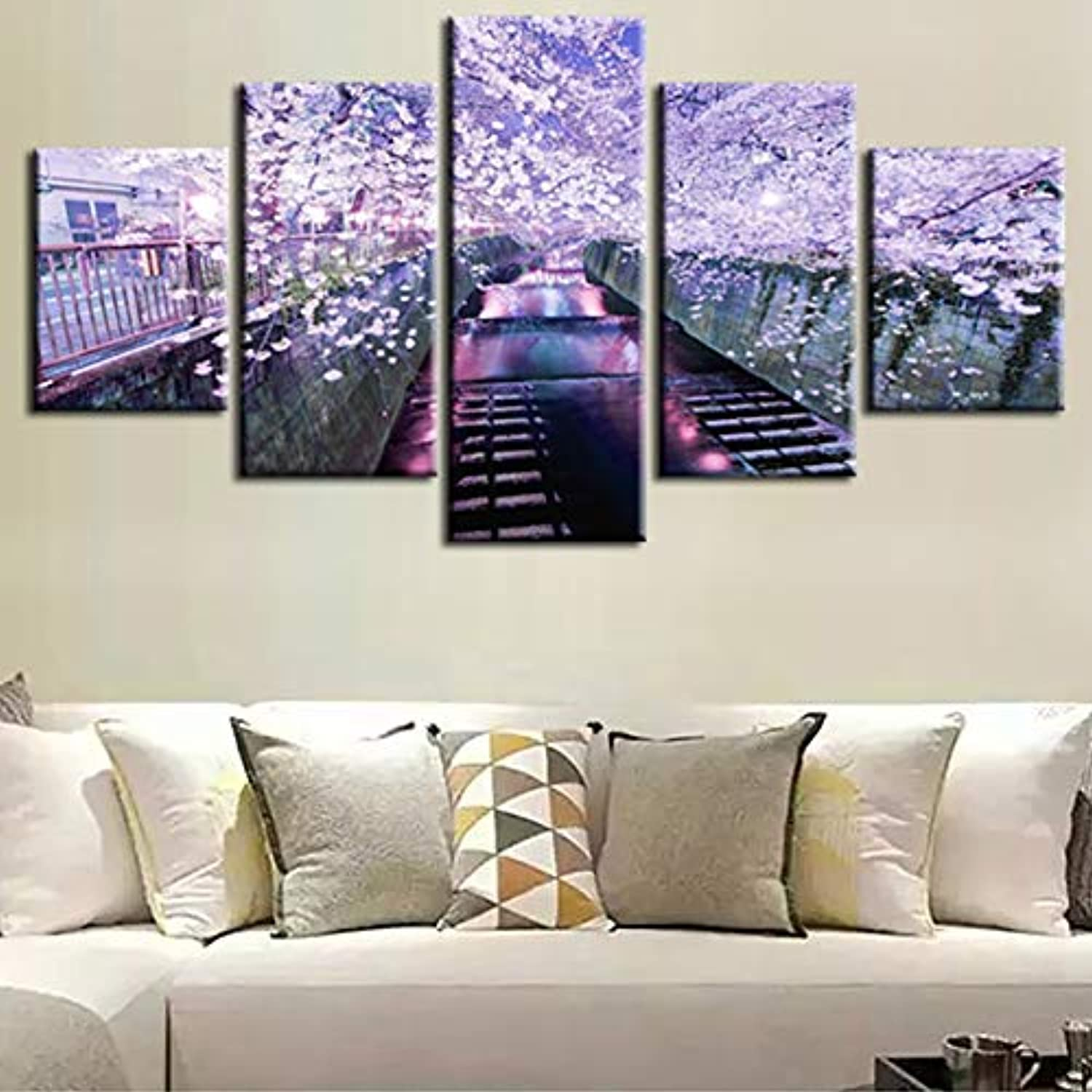 Wall Art Pictures Home Decor Poster 5 Panel Beautiful Flower Street Night Landscape Frame Living Room HD Print Painting