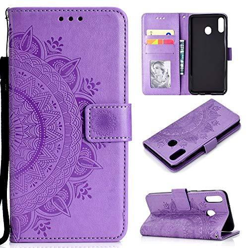 CoverKingz Handyhülle für Huawei P40 Lite E - Handytasche mit Kartenfach P40 Lite E Cover – Handy Hülle klappbar Motiv Mandala Lila