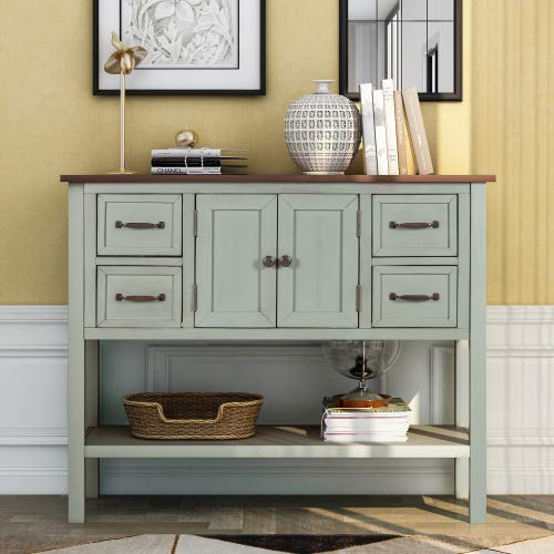 """Aurora Furniture 43"""" Modern Kitchen Sideboard Buffet Sideboard Cupboard Cabinet with 4 Drawers Storage Shelf and Cabinet, Freestanding Storage Cabinet Buffet Table Entry Table, Green"""