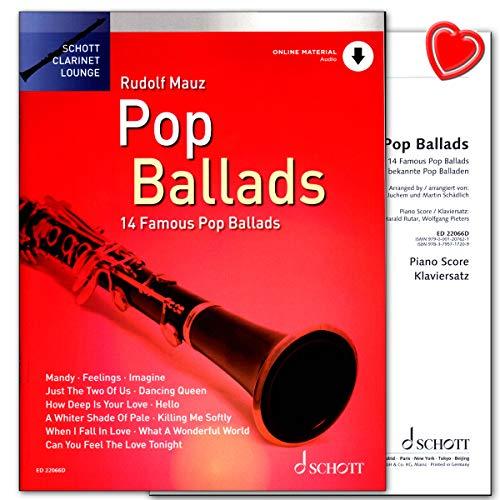 Pop Ballads – 14 Famous Pop Ballads para clarinete – Edición con audio en línea, con voz de piano insertada – Libro de partituras con clip en forma de corazón