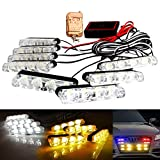 LED Emergency Strobe Lights Bars DIBMS 8x 4 LED Amber White 8 in 1 Sync Surface Mount Grill Light Flash Warning Lights For Car Truck SUV Pickup DRL Ambulance Police Lights with Wireless Remote Control