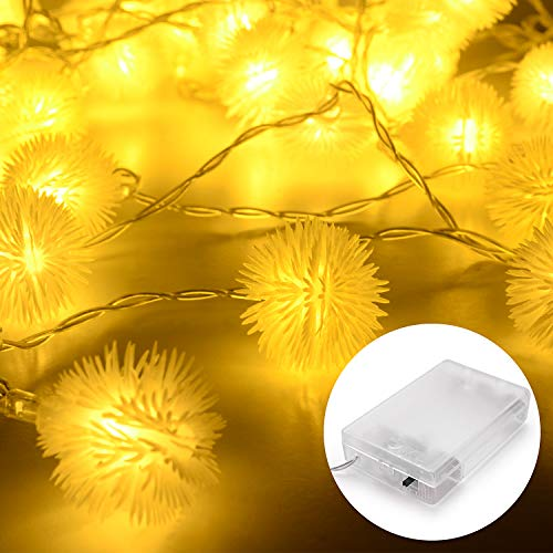 Herefun Lichtsnoer, 40 Leds, 5M, Lamp, Werkt Op Batterijen, Waterdicht, Voor Party, Terras, Binnenplaats, Huis, Outdoor, Feestdecoratie (Warmwit)