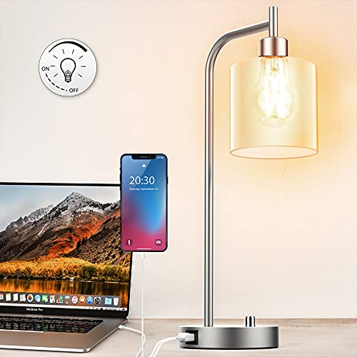 Table Lamp, Industrial Table Lamp with Jade White Glass Shade, LED Bulb Included, with Dimmable Function, Type C USB Port ,Nightstand Reading Lamps for Bedside, Study Room, Bedroom,Nickel