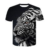 シンプルプリントファッションストリートTシャ 新しい3Dタイガートレンドデジタルプリント半袖Tシャツ-37 xxl.