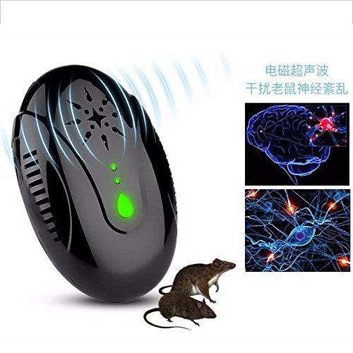 MFBEE Ultraschall-Maus Repeller Schädlingsbekämpfer Elektronische Insektenschutzmittel Insektenschutzmittel Schwarz,Black