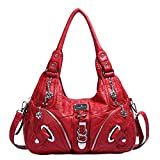 Angelkiss Women Multiple Pockets Purses and Handbags Washed Leather, Two Top Zippers Closure, Red