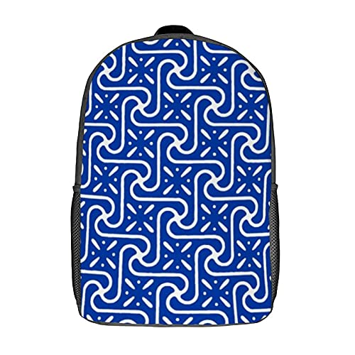 Mochilas, mochilas escolares, mochila de ordenador para mujeres, niñas, niños, hombres, viajes, negocios, 17 pulgadas (patrón de azulejos egipcios, azul cobalto y blanco)