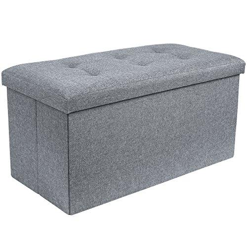 Homfa Tabouret Coffre de Rangement Tabouret Pouf Coffre Boîte de Rangement Repose-Pied Cube Siège Pliable Gagner de l'espace (76 * 38 * 38cm)