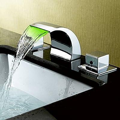 Lovedima Victoria Widespread Waterfall Faucet LED Bathroom Sink Faucet 3-Piece Basin Mixer Tap