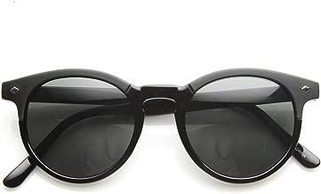 Studded P3 Horned Rim Keyhole Round Horn Rimmed Sunglasses (Black Smoke)