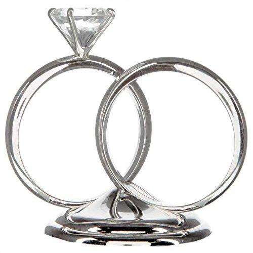 Silver Diamond Ring Cake Topper Centerpiece Decoration