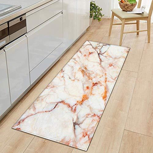 FLOORMATJING Mat Küchenläufer Küchenmatte,Teppichläufer Waschbare Küchenläufer/Küchendeko Modell Teppich,7mm Dicke Abstrakt Orange Marmor Gemusterter Teppich, 60x180cm