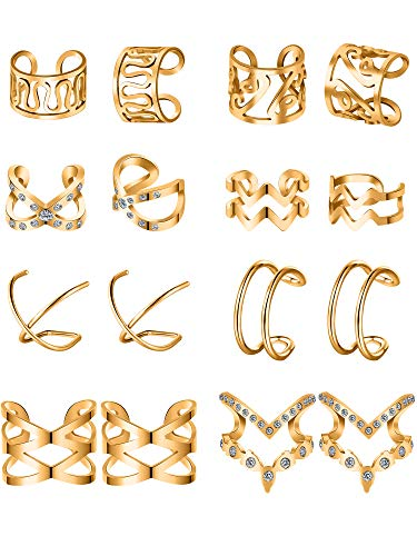Blulu 8 Paare Edelstahl Ohr Manschette Ohrklemme Nicht Piercing Clip auf Knorpel Ohrringe für Männer Damen (Stil Set 2, Gold)