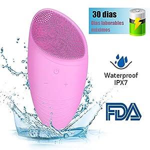 FASHSMILE Limpiador Facial Silicona Ultrasonico - Puerto de carga no poroso 5 - Velocidad Ajustable Recargable Cepillo Facial Electrico para Todo Tipo De Pieles (A-Rosa)