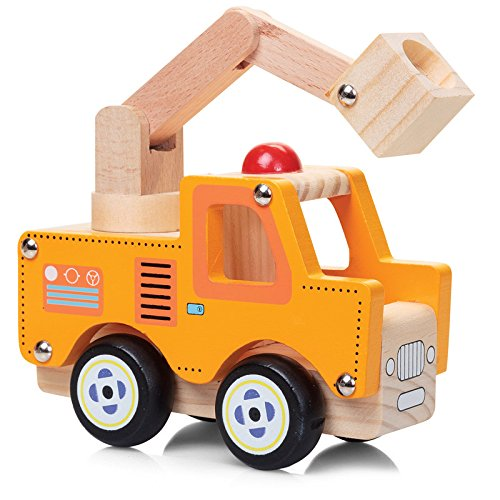 Tobar Kran-Wagen / Werkstatt-Wagen / Baustelle Holz-Spielzeug-Auto 13 cm lang