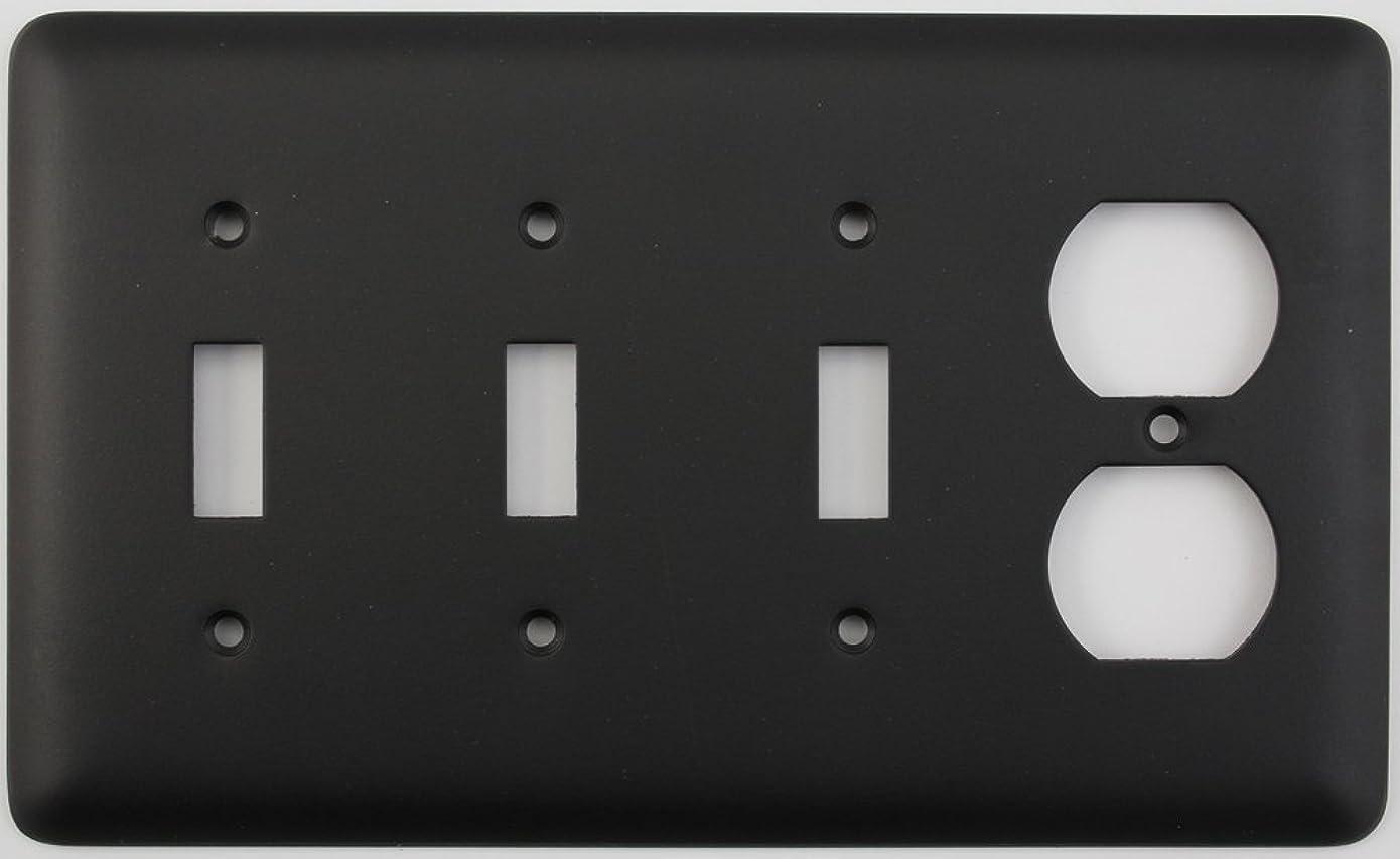 中世の代表する眼クラシックアクセントRoundedブラック4ギャングコンボスイッチプレート?–?3切り替えライトスイッチ1デュプレックスコンセント