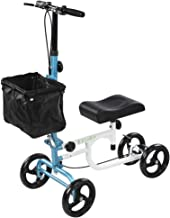 ELENKER Steerable Knee Walker Deluxe Medical Scooter for Foot Injuries Compact Crutches Alternative White+Blue