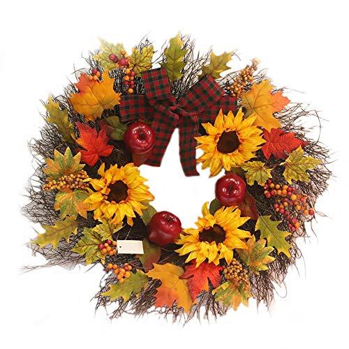 Navidad guirnalda de otoño Deco guirnalda de arce hoja de girasol guirnalda de otoño calabaza guirnalda de puerta de entrada a casa Pascua decoración fiesta de acción de gracias