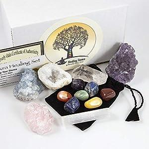 13 pcs Chakra Crystal Set | Celestite, Amethyst, Rose Quartz, Selenite, Clear Quartz, 7 Chakra Stones