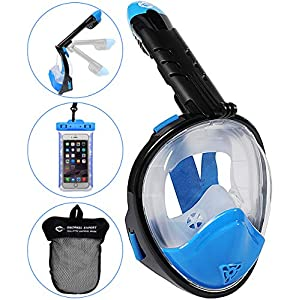HELLOYEE Upgraded Snorkel Mask 180° Panoramic View Breathe Free For Adults And Kids, Snorkeling Mask Full Face Anti-Fog Anti-Leak Design With Detachable Camera Mount