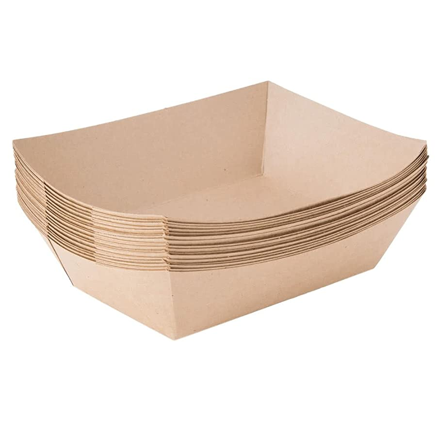 Paper Food Trays 2 1/2 LB, Kraft Paper, Compostable, Great for Picnics, Carnivals, Nachos, Fries (250 Trays) - Econoly (Brown, 2 1/2 LB)