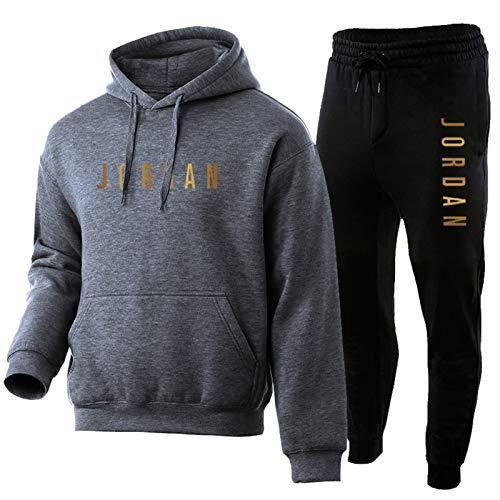 NFNFNF - Chándal para hombre de 2 piezas, conjunto alto y bajo, clásico, suave, cómodo, manga larga, con capucha de baloncesto y exterior gris