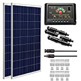 SUNGOLDPOWER 200 Watt 12V Polycrystalline Solar Panel Solar Kit Module:2pcs 100W Polycrystalline Solar Panel Solar Cell Grade A +20A LCD PWM Charge Controller Solar+ Solar Panel Connector Extension Cables+Z-Brackets