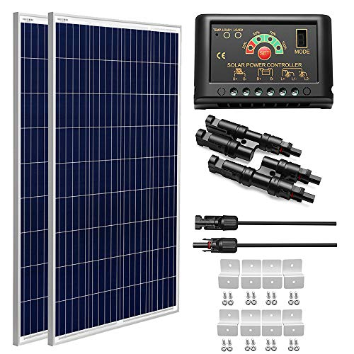 SUNGOLDPOWER 200 Watt 12V Polycrystalline Solar Panel Solar Module:2pcs 100W Polycrystalline Solar Panel Solar Cell Grade A +20A LCD PWM Charge Controller Solar+Solar Panel Extension Cables+Z-Brackets