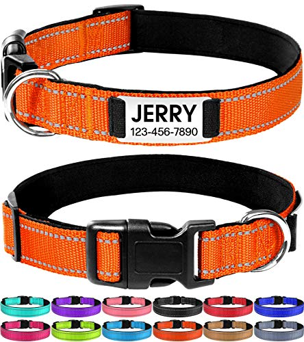 Joytale Personalized Dog Collar with Engraved Slide on ID Tags,Custom Reflective Collars for Small Medium Large Dogs,Orange