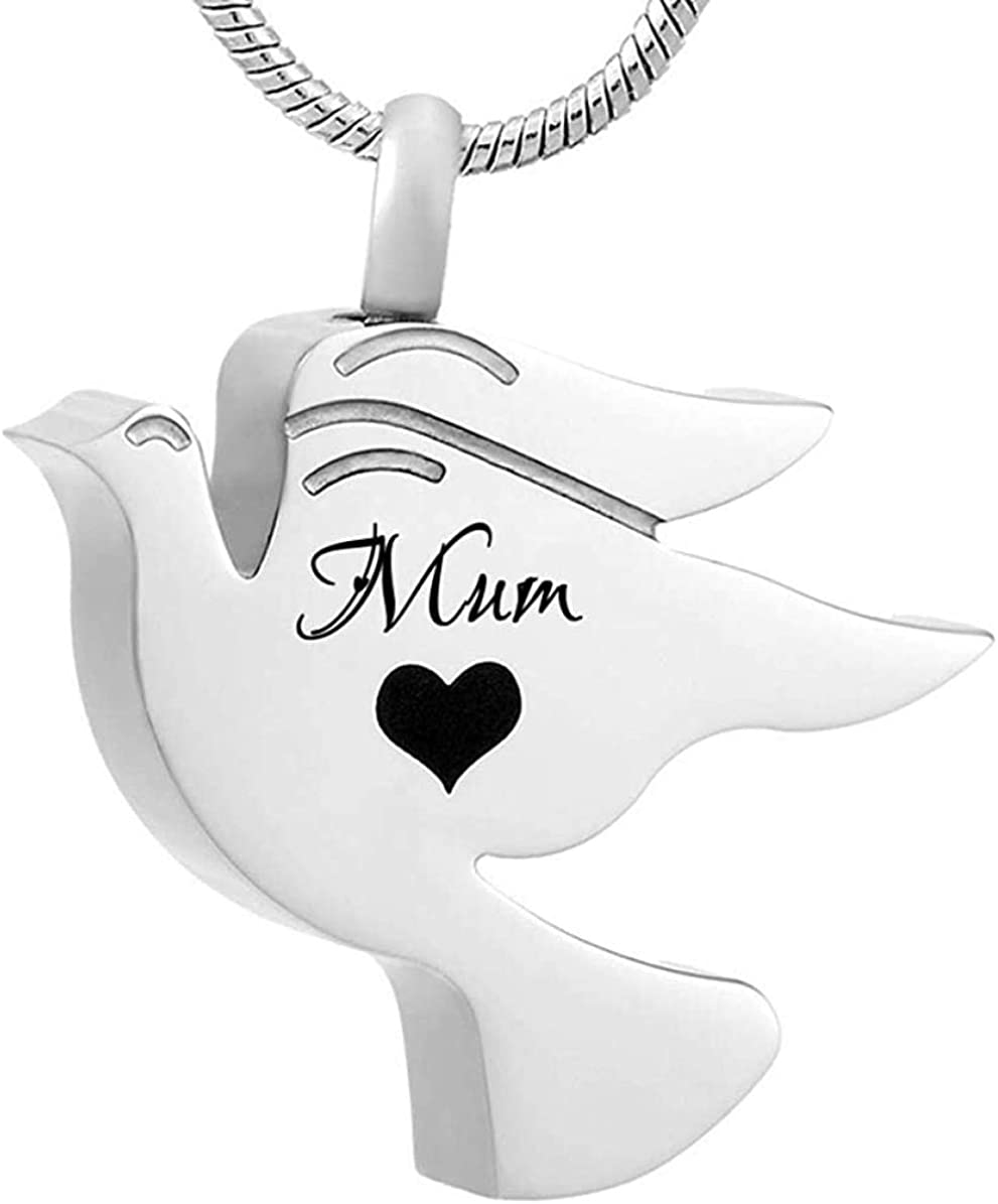 Urn Necklace for Ashes Cremation Urn Necklace Heart Pendant Cremation Urn Necklace Pendant Funnel Fill Kit Keepsake Memorial Ashes Peace Pigeon