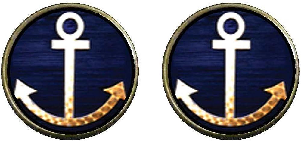 GiftJewelryShop Bronze Retro Style Anchor Symbol Photo Clip On Earrings 14mm Diameter