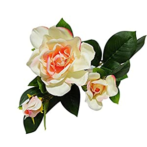 Ameesi 1Pc 3 Heads Fashion Artificial Gardenia Flower Wedding Party Bouquet Home Decor – Pink