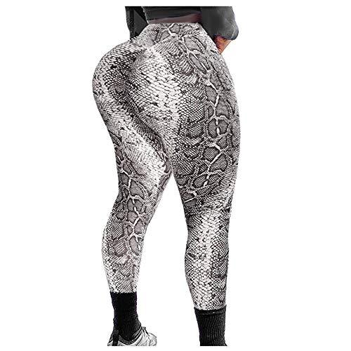 KAKIO Pantalones de yoga para mujer con patrón de piel de serpiente para levantamiento de caderas, deportes y fitness