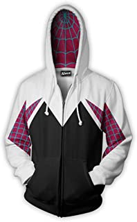 Unisex Adult 3D Clothing Gwen Spider Cosplay Zipper Hooded Sweatshirt Black X-Large