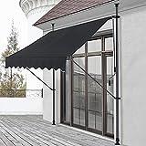 Toldo articulado con armazón 200 x 120 x 200-300 cm Toldo Enrollable terraza balcón Protector de Sol Parasol Negro