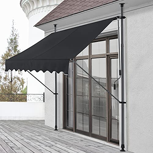 pro.tec Klemmmarkise 150 x 120 x 200-300cm Markise Balkonmarkise Sonnenschutz ohne Bohren Schwarz