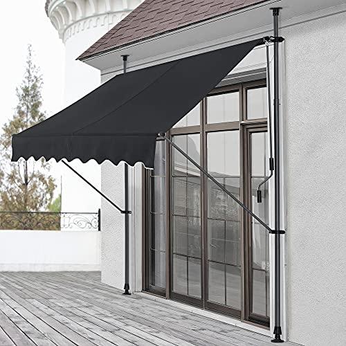Toldo articulado con armazón 300 x 120 x 200-300 cm Toldo Enrollable terraza balcón Protector de Sol Parasol Negro