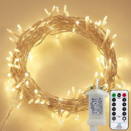 String Lights Waterproof, 120 LED 12M/40Ft Fairy Lights Plug in with 8 Modes Remote Control Indoor/Outdoor Garden Lights for Bedroom, Patio, Yard, Gazebo, Party, Wedding, Christmas (Warm White)