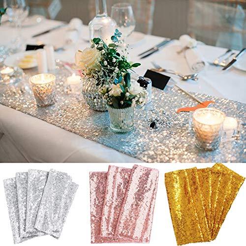 TtS 30x275cm Shimmer Glitzer Pailletten Tischläufer Pailletten Tischdecke Party Hochzeit Bankett Dekoration, Rose Gold
