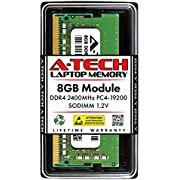A-Tech 8GB DDR4 2400MHz SODIMM PC4-19200 Non-ECC CL17 1.2V 260-Pin SO-DIMM Laptop Notebook Computer RAM Memory Upgrade Module