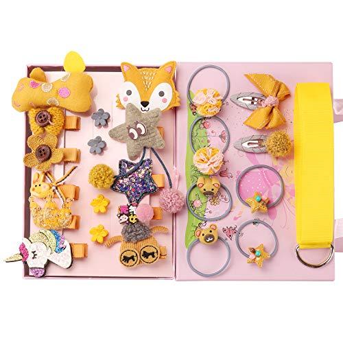 Seatecks 24 stuks baby elastische haarbanden en meisjes haarspeldjes haaraccessoires set geschenkset haarboog schattig feest strik haarspeld voor kleine meisjes baby peuter kinder-geel