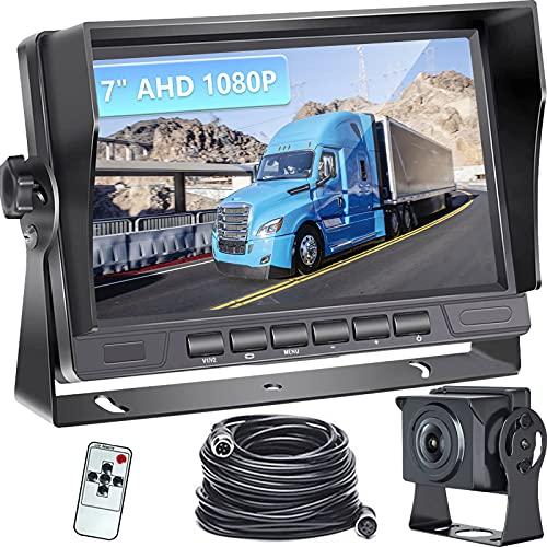 Podofo Retrocamera Auto AHD 1080P ,7 Pollice LCD Schermo Monitor Telecamera Retromarcia IP69 Impermeabile Telecamera Posteriore Visione notturna per Camion/Camper/Furgone
