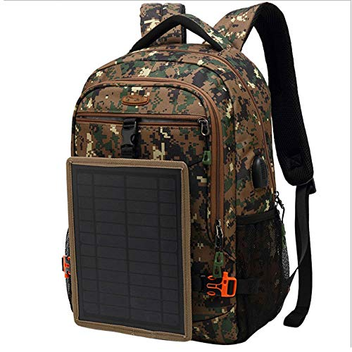 Solar Panel Hiking Backpack,Laptop Backpack for Smartphones And All USB Devices on The Go 30L Volume And 16'' Laptop Compartment,camouflage