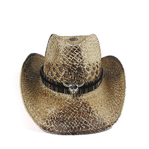 LLPBEAU-hat Sonnenhut, Stroh Western-Cowboy-Hut-Sommer-Womem Cowgirl Fedora-Jazz-Hut Strand Sombrero Hombre Rettungsschwimmer (Color : 5, Size : 56-58cm)