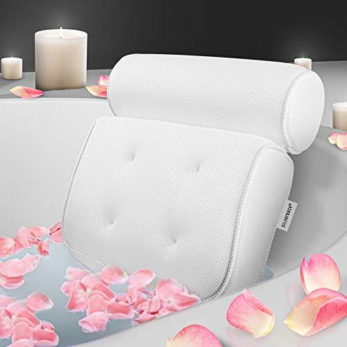 SilverRack Premium Badewannenkissen (weiß) - [TESTSIEGER] Badekissen - Nackenkissen für Badewanne mit Saugnäpfen als Badewannen Zubehör - Kissen für Badewanne zum Entspannen u. Wohlfühlen