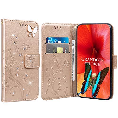 GrandoinChoice für Huawei Honor Play 8A / Y6 Pro 2019, Bling Glitzer Handyhülle im Brieftasche-Stil [Diamant-Serie] PU Leder Ledercase Flip Tasche Wallet Tasche Handytasche Cover Etui Hülle (Gold)