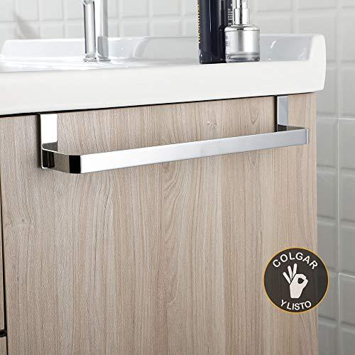 Kibath 321054 Toallero sin taladros para mueble de baño. Fabricado en Acero Inox. Acabado cromo brillo. Largo 29cm. No necesitas hacer agujeros